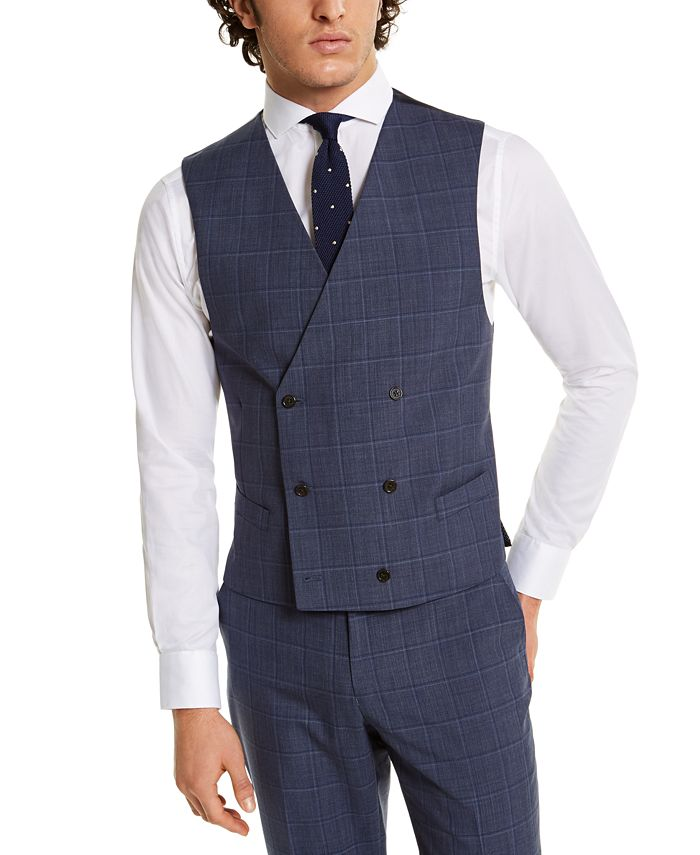 Lauren Ralph Lauren - Men's Classic-Fit UltraFlex Navy Windowpane Suit Separate Vest