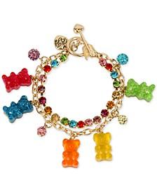 Gold-Tone Crystal & Gummy Bear Charm Bracelet