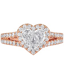 Diamond Heart-Shape Halo Ring (1 ct. t.w.) in 14k Rose Gold