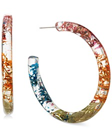 Gold-Tone Medium Encapsulated-Flower Open Hoop Earrings, 1.2""