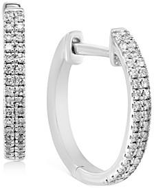 """EFFY® Diamond Small Double Row Hoop Earrings (1/5 ct. t.w.) in Sterling Silver, 0.5"""""""