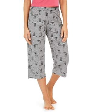 Hue Cotton Temp Tech Cat-Print Capri Pajama Pants