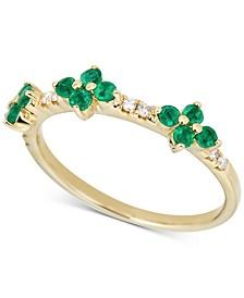 Emerald (1/2 ct. t.w.) & Diamond (1/6 ct. t.w.) Ring in 14k Gold