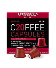 Coffee Verona Flavor 20 Capsules per Pack for Nespresso Original Machine