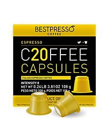 Coffee Espresso Flavor 20 Capsules per Pack for Nespresso Original Machine