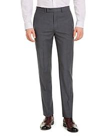Men's Slim-Fit Performance Stretch Wrinkle-Resistant Mini Grid Dress Pants