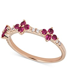 Certified Ruby (1/2 ct. t.w.) & Diamond (1/6 ct. t.w.) Ring in 14k Rose Gold