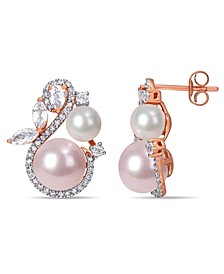 Freshwater Cultured Pearl (5.5-8.5mm), White Topaz (1 1/8 ct. t.w) and Diamond (1/3 ct. t.w.) Swan Earrings in 10k Rose Gold