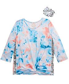 Belle Du Jour Big Girls 2-Pc. Tie-Dye Top & Sequin Scrunchie Set