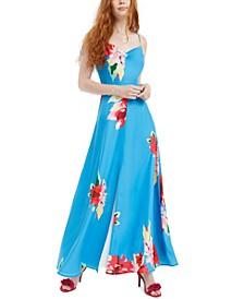 Cowlneck Floral-Print Dress