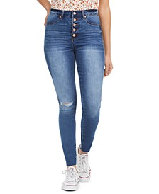 Juniors' Curvy High Rise Ripped Button-Fly Skinny Jeans