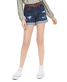Juniors' Belted Cuffed Denim Shorts