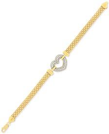 Cubic Zirconia Heart Bracelet in Sterling Silver & 18K Gold-Plate