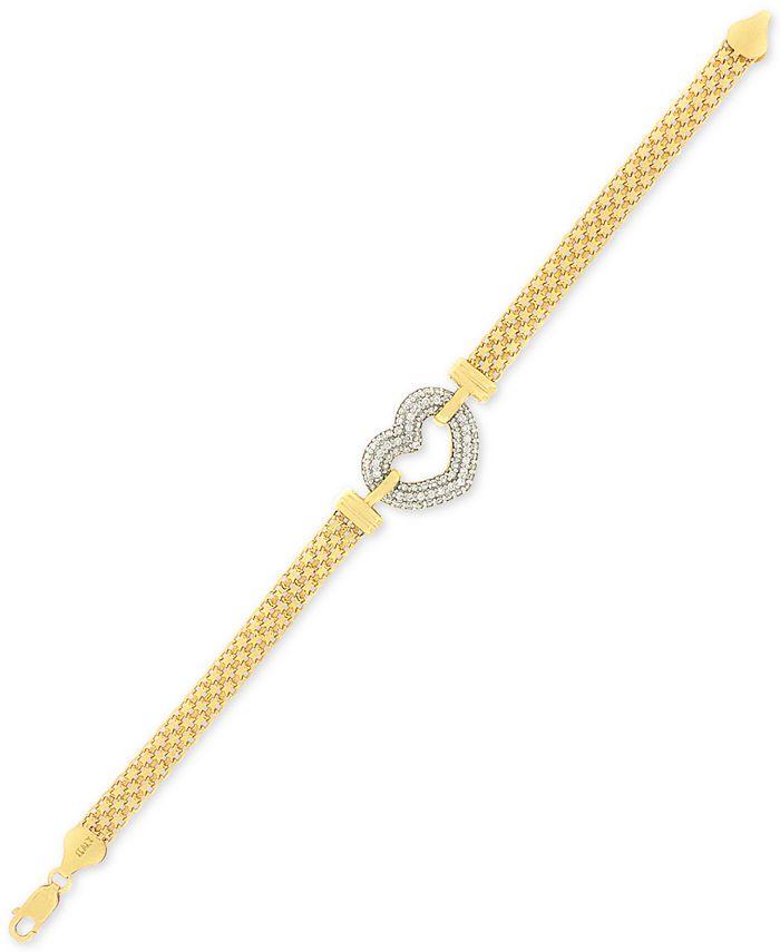 Macy's - Cubic Zirconia Heart Bracelet in Sterling Silver & 18K Gold-Plate