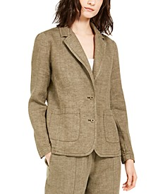 Organic Linen Notch Collar Shaped Blazer, Regular & Petite Sizes