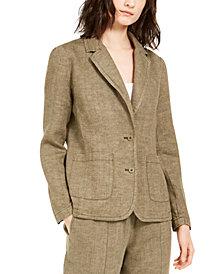 Eileen Fisher Organic Linen Notch Collar Shaped Blazer, Regular & Petite Sizes