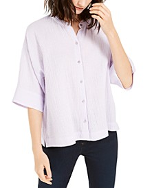 Mandarin-Collar Crinkle Top