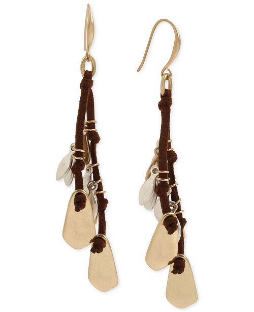 Robert Lee Morris Soho Two-Tone Sculptural Shaky Charm & Suede Drop Earrings