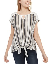 Juniors' Printed-Front Tie-Hem Top