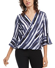 Juniors' Striped Bell-Sleeved Top
