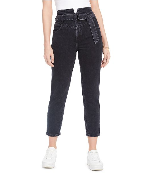 GUESS Belted 80s Straight-Leg Jeans