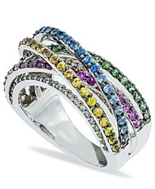 Multi- Sapphire (2-1/2  ct. t.w.) and Diamond (1/6  ct. t.w.) Ring Set in Sterling Silver