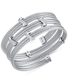 White Topaz Twist Cable Wrap Bracelet (3/8 ct. t.w.) in Stainless Steel