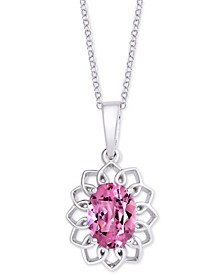 """Pink Topaz (1-5/8 ct. t.w.) Oval Flower 18"""" Pendant Necklace in Sterling Silver"""