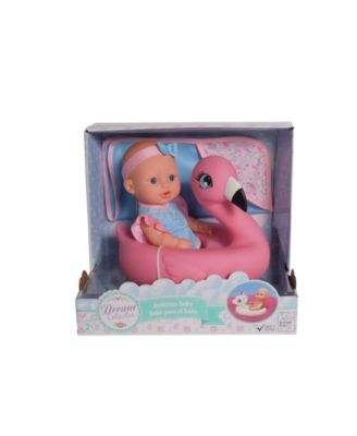 """Dream Collection 10"""" Pretend Play Bath Time Baby Doll With Flamingo Float"""