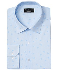Men's Classic/Regular Fit Performance Stretch Triangle Maze Print Dress Shirt, Created for Macy's