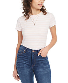 Ultra Flirt Juniors' Rib-Knit Crew-Neck T-Shirt