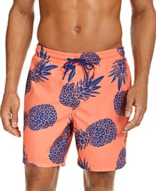 "Men's Pineapple-Print 7"" Swim Trunks, Created for Macy's"