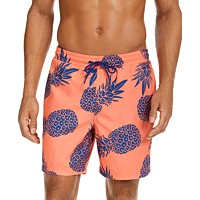 Deals on Club Room Mens Pineapple-Print 7-in Swim Trunks