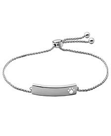 Cubic Zirconia Paw Print ID Bracelet