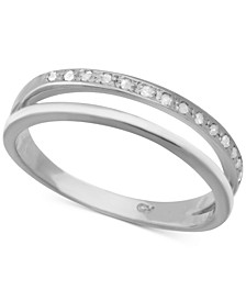 Diamond Split Shank Band (1/10 ct. t.w.) in Sterling Silver