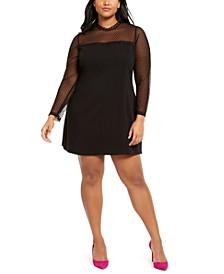 Plus Size Illusion-Sleeve Dress