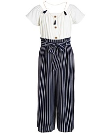 Big Girls Striped Necklace Jumpsuit