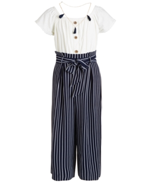 Beautees Big Girls Striped Necklace Jumpsuit