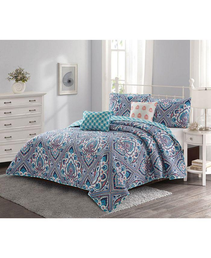 Harper Lane - Merriam 4 piece Quilt Set Blue/Coral Twin