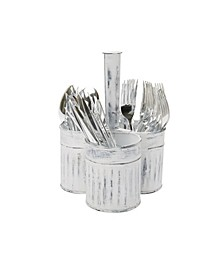Paint Look Galvanized 3 Section Utensil Holder