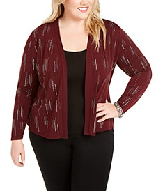 Plus Size Studded Open Cardigan