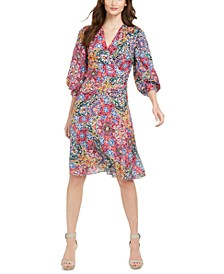 Mosaic-Print A-Line Dress