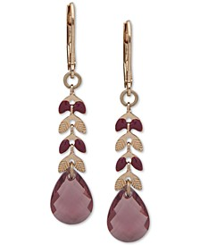Gold-Tone Leaf & Stone Drop Earrings