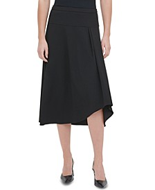High-Low Pleated-Waist Skirt