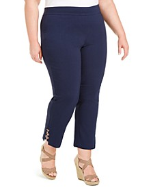 Plus Size Tummy Control Hardware-Trim Slim Ankle Pants, Created For Macy's