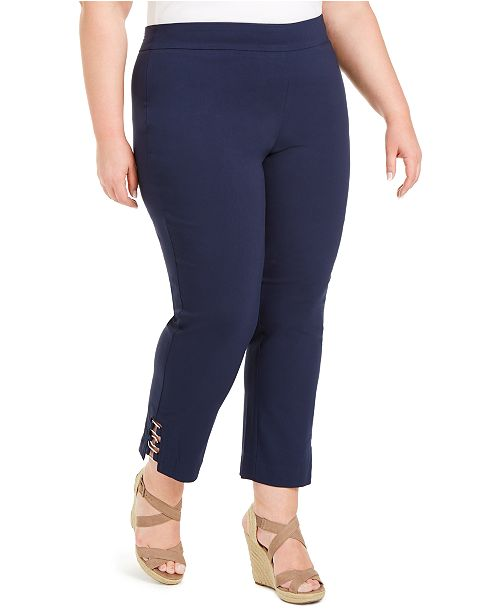 JM Collection Plus Size Tummy Control Hardware-Trim Slim Ankle Pants, Created For Macy's
