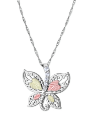 """Cubic Zirconia Butterfly Pendant 18"""" Necklace in Sterling Silver with 12K Rose and Green Gold"""