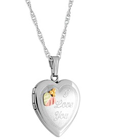 """I Love You"" Heart Locket Pendant 18"" Necklace in Sterling Silver with 12K Rose and Green Gold"