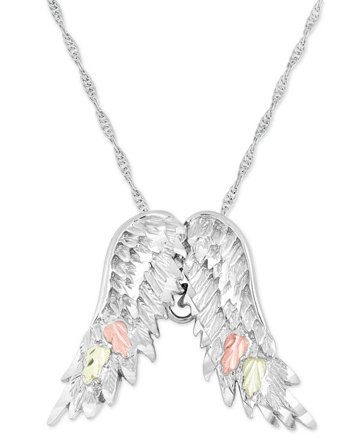"""Black Hills Gold - Wing Pendant 18"""" Necklace in Sterling Silver with 12K Rose and Green Gold"""