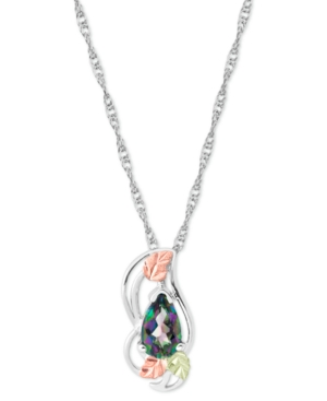"""Mystic Fire Topaz (1 ct. t.w.) Pendant 18"""" Necklace in Sterling Silver with 12K Rose and Green Gold"""